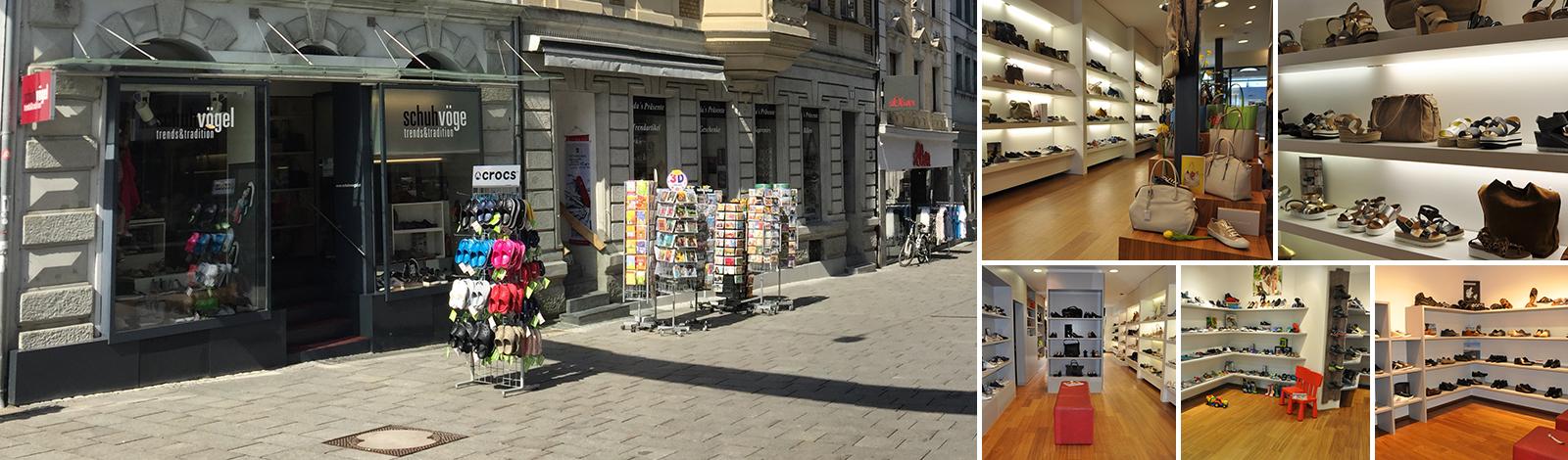 Collage Schuh Vögel Geschäft